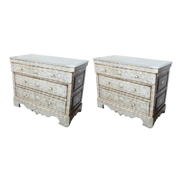 20th Century Syrian White Mother-Of-Pearl Inlay Wedding Dressers - a Pair For Sale