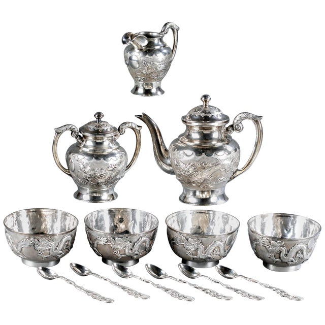 Chinese Export Sterling Silver Tea Set with Dragon Design Tianjing Wuhua - 13 Pieces For Sale - Image 13 of 13
