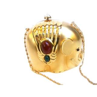 Charming Gilt Metal Jeweled Elephant Evening Bag For Sale