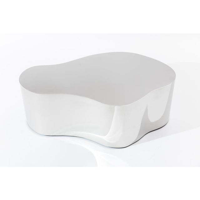 Contemporary Stainless Steel Free Form Low Table, Usa For Sale - Image 3 of 4