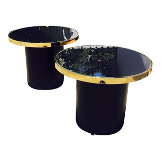 1970s Dia Black Glass and Brass Side Tables - a Pair For Sale