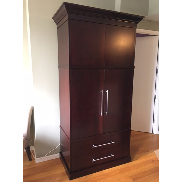 Custom Made Dark Wood Media Armoire/Storage Cabinet | Chairish