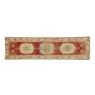 Vintage Turkish Oushak Hallway Runner - 03'04 X 12'07 For Sale