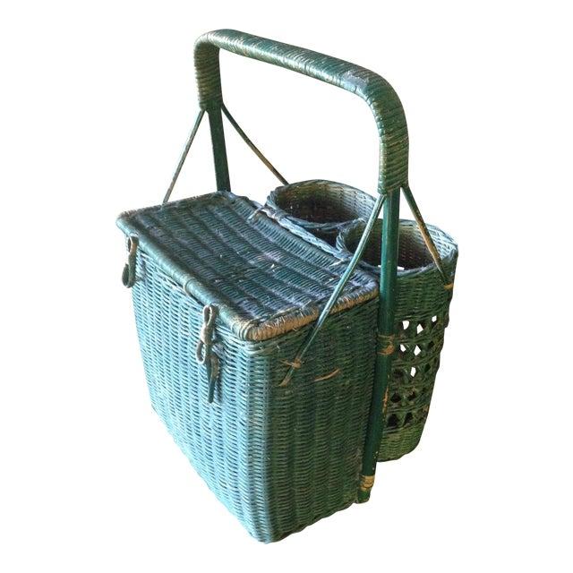 Vintage Green Wicker Picnic Basket - Image 1 of 11