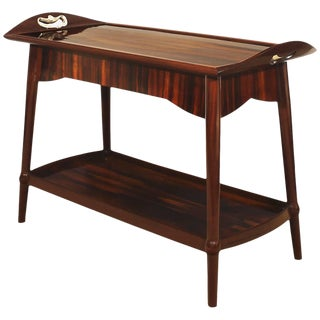 1900s Art Nouveau Dessert Table, Mahogany, Removable Tray, France For Sale