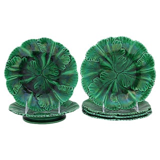 Antique French Majolica Compote & Plates - 6Pcs For Sale