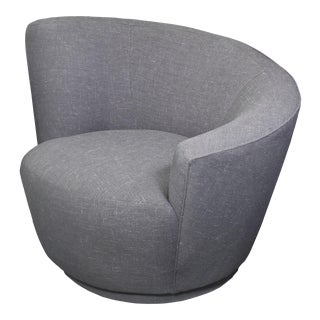 1970s Vladimir Kagan Nautilus Swivel Chair in Grey Linen Tweed For Sale