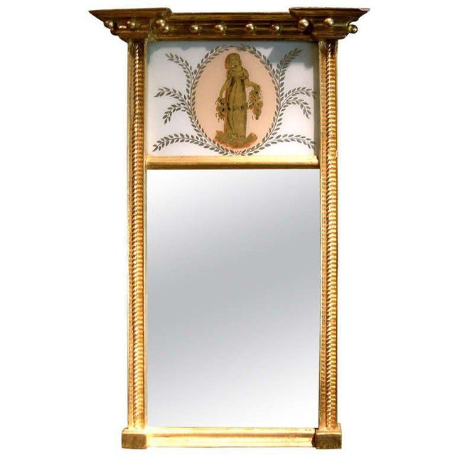 Charming Federal Giltwood Trumeau Mirror For Sale - Image 4 of 5