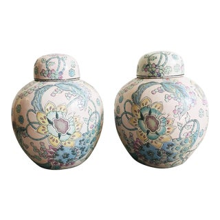 Pair of Vintage Pastel Chinese Ginger Jars For Sale
