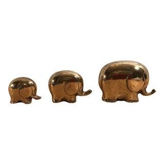 Art Deco Style Brass Elephants - Set of 3 For Sale