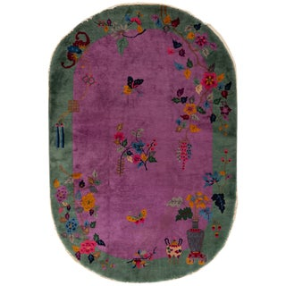 """Antique Deco Green & Purple Oval Chinese Rug, 5'11"""" X 8'9"""" For Sale"""