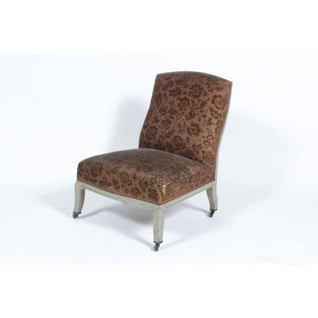 Floral Upholstered Low Side Chair Napoleon III For Sale - Image 9 of 11