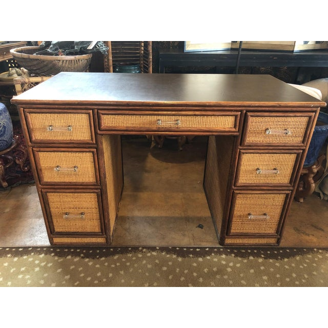 1990s 1990s Boho Chic Rattan Partner Desk For Sale - Image 5 of 8