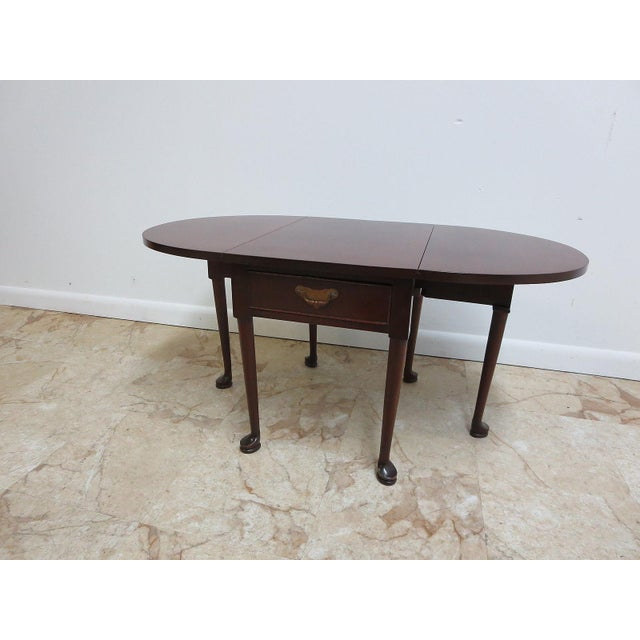 Cherry Queen Anne Gate Leg Drop Leaf Table For Sale - Image 11 of 11