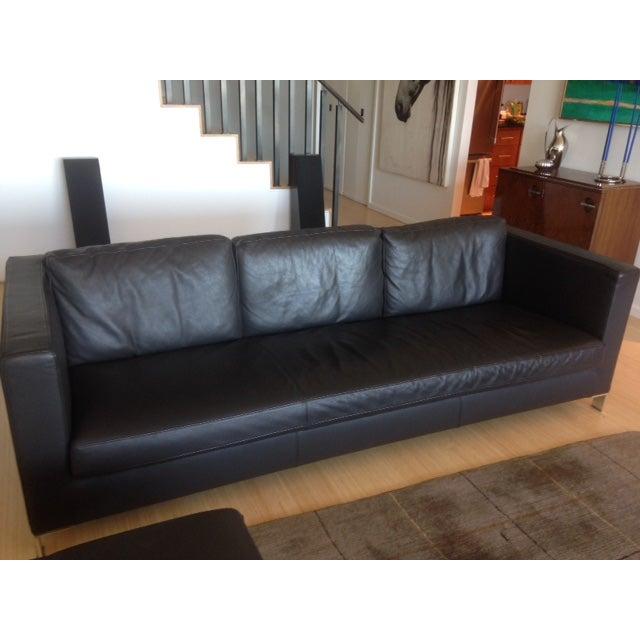 Verdesign Dark Grey Leather Modern Sofa & Ottoman - Image 5 of 11