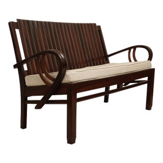 Art Deco Rosewood Settee Loveseat With Cushion For Sale