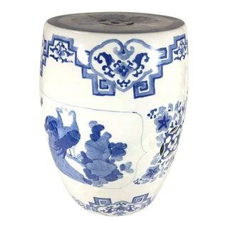 White & Blue Chinoiserie Style Ceramic Garde Stool