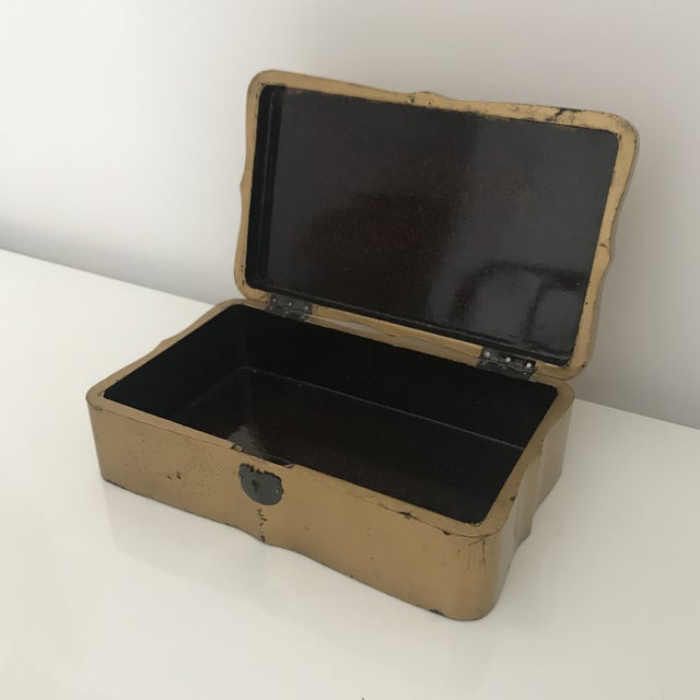 Art Deco Vintage Deco Asian Crane Painted Box For Sale - Image 3 of 7