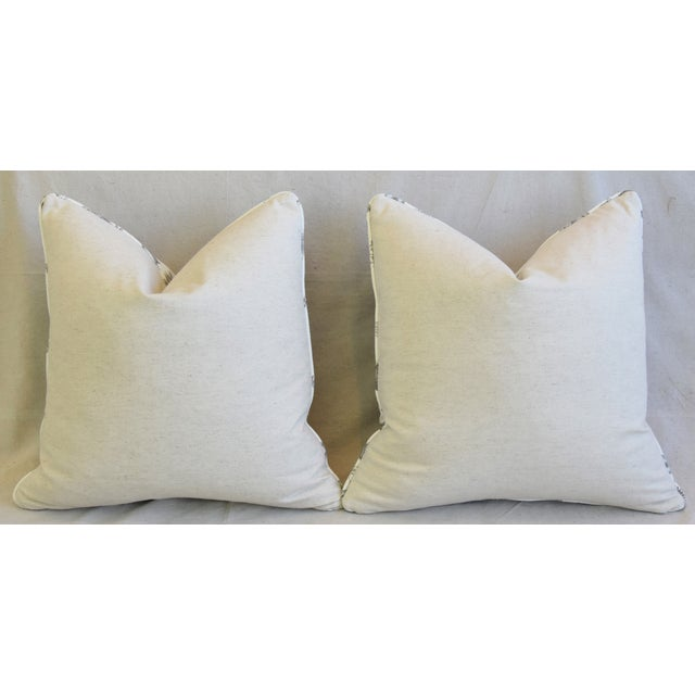 """Brunschwig & Fils Bird and Thistle Feather/Down Pillows 21"""" Square - Pair For Sale - Image 11 of 13"""