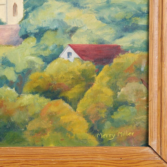 Vintage WPA style painting of Southwest Texas State University. Circa 1940s. Painted by Merry Kone Fitzpatrick, signed...