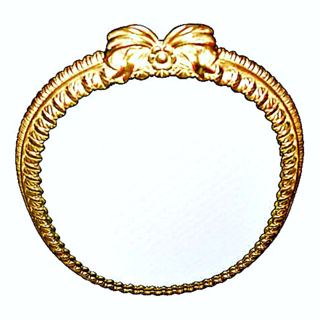 Glass Oval Italian Gilt Mirror with Bow For Sale - Image 7 of 12