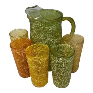 Spaghetti Glass Pitcher & Glasses - Set of 6 For Sale