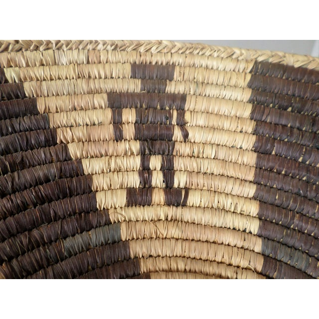Yellow Indian Native American Kumeyaay Mission Tribal Basket For Sale - Image 8 of 10