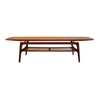 Arne Hovmand Olsen Teak and Tile Coffee Table For Sale