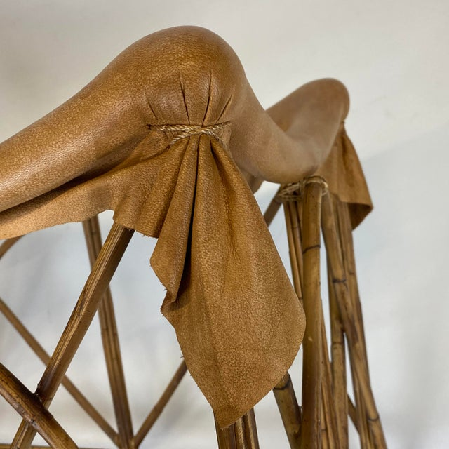 Late 20th Century Rattan Stool With Soft Leather Seat For Sale - Image 11 of 12