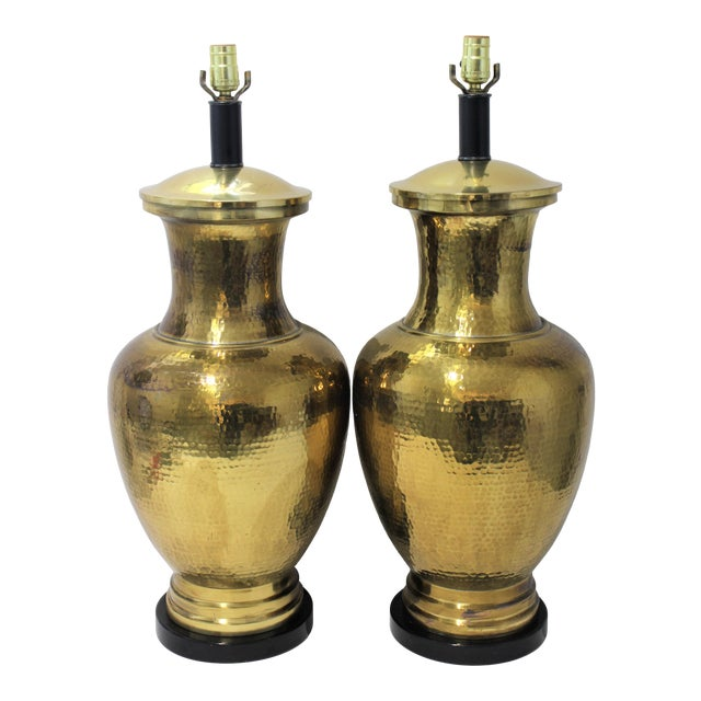 Mid-Century Table Lamps Made From Artisan Hammered Brass Vases - a Pair For Sale