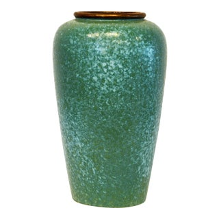 Midcentury Tall Aqua Glazed Pottery Vase by Scheurich West Germany, 15 Inches For Sale
