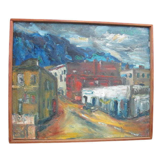 Mid 20th Century Portland Oregon Artist Virginia Holsman Cityscape Front St. Signed Oil Painting For Sale