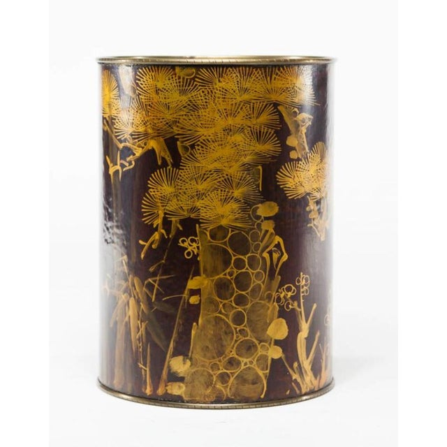 Brass bin wrapped in water buffalo hide with a gold painted botanical motif. Designed by the late legendary designer Lucia...