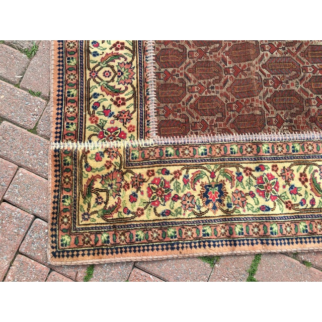 "Vintage Turkish Patchwork Rug - 5'5"" X 8'10"" For Sale - Image 10 of 11"