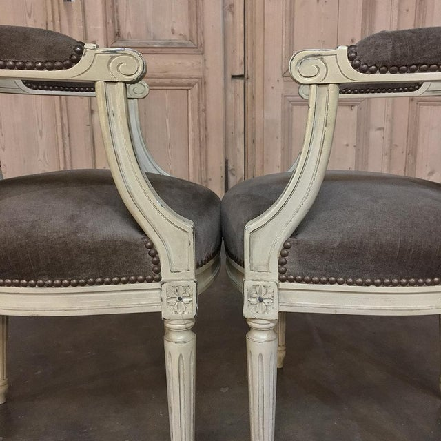 French 19th Century French Louis XVI Painted Armchairs - a Pair For Sale - Image 3 of 13