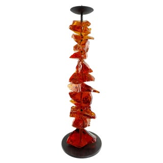 Murano Amber Glass Candlestick For Sale