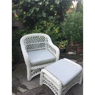 1960s Vintage White Wicker Chair and Ottoman Set Preview