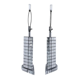 Mid-Century Modern Tear-Drop Lucite Table Lamps-A Pair For Sale