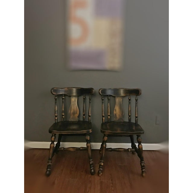 Black Distressed Drop Leaf Dining Table & Chairs - Set of 3 - Image 7 of 11