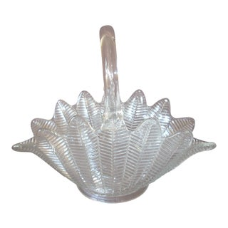 1960s Traditional Style Glass Basket For Sale