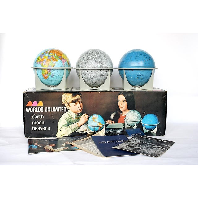 Cool collection of vintage Replogle globes in their original box, this retro globe set includes three 6-inch metal orbs...