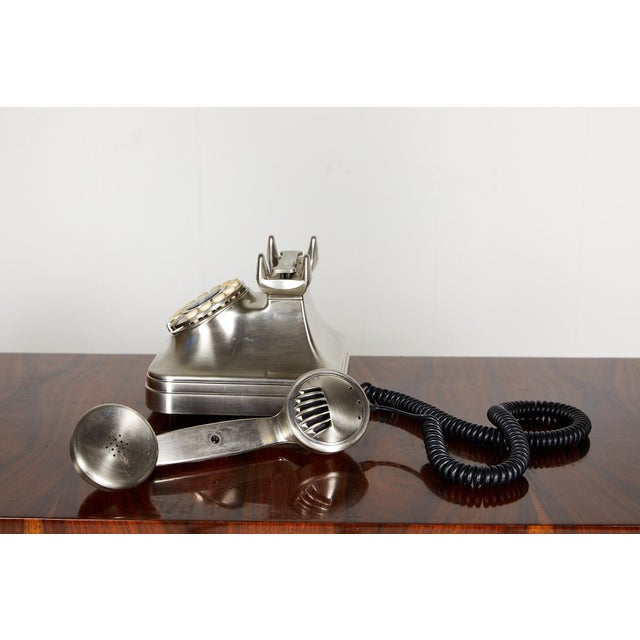 Silver Retro Brushed Nickel Push Button Telephone For Sale - Image 8 of 9