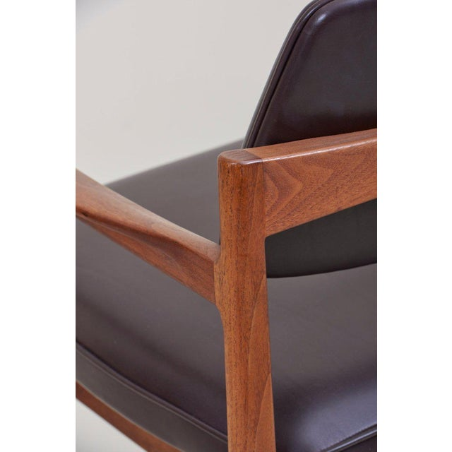 Jens Risom Armchair in Walnut and Leather by Jens Risom Inc. For Sale - Image 6 of 11