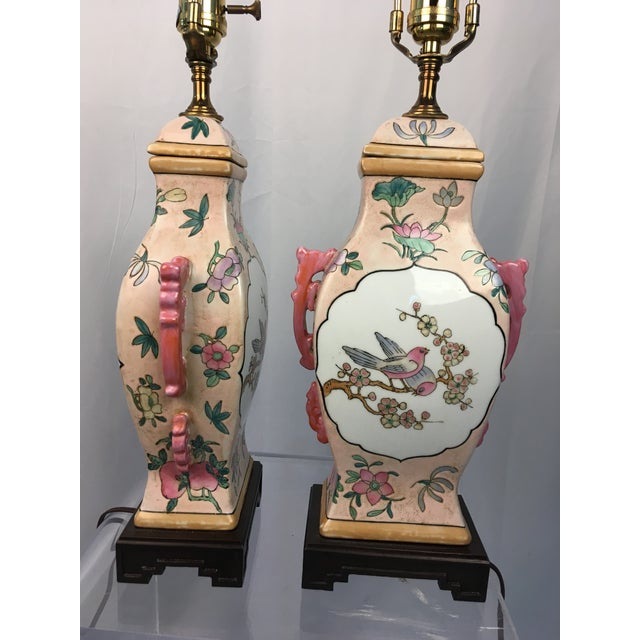 1970s Pink With Floral Motif Chinoiserie Vintage Lamps - a Pair For Sale - Image 5 of 9