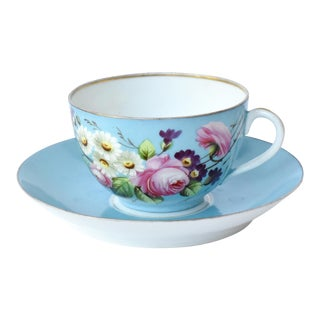 19th-Century French Limoges Hand-Painted Breakfast Tea Cup & Saucer - a Pair For Sale