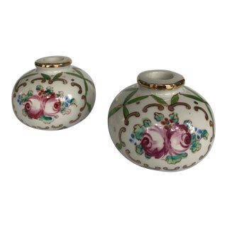 Antique Porcelain Floral Round Candle Holders - A Pair For Sale