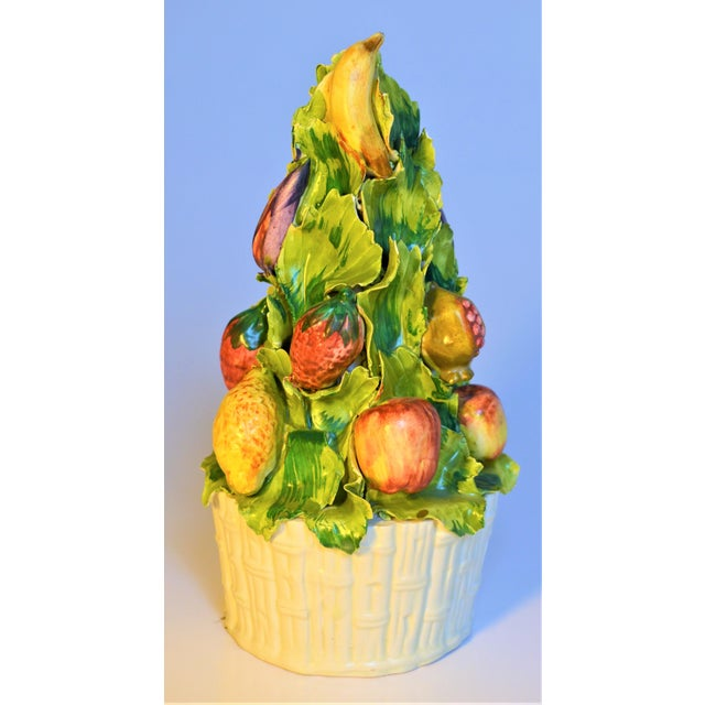 Italian Meiselman Imports Italian Majolica Fruit Topiary For Sale - Image 3 of 5