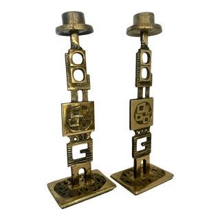 Pair Brutalist Solid Brass Candlesticks For Sale