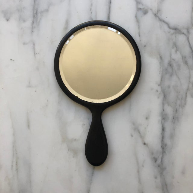 Early 20th Century Early 20th Century Round Ebony Hand Mirror For Sale - Image 5 of 5