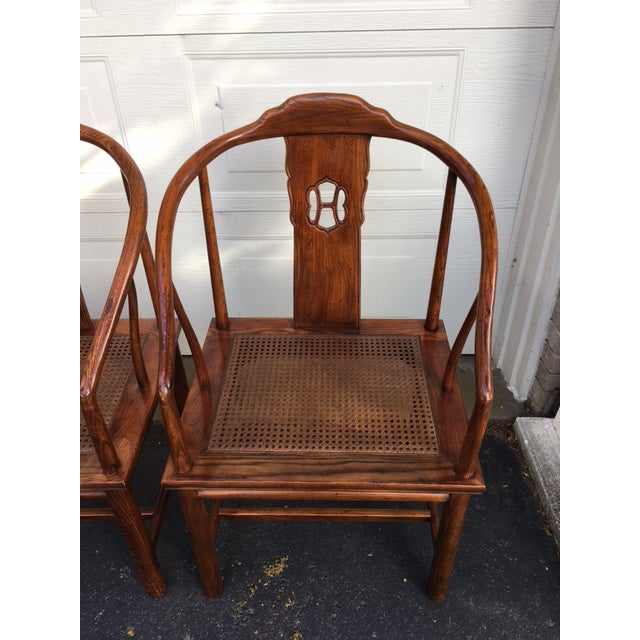 Asian Henredon Asian Elm Caned Chairs - Set of 4 For Sale - Image 3 of 10